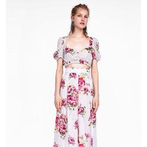 ZARA Floral Print Cropped Top